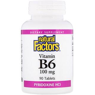 Natural Factors, B6, Pyridoxine HCl, 100 mg, 90 Tabletten