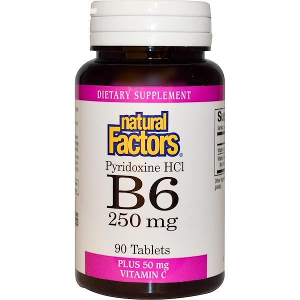 Natural Factors, B6, Pyridoxine HCl, 250 mg, Plus Vitamin C, 50 mg, 90 Tablets (Discontinued Item)