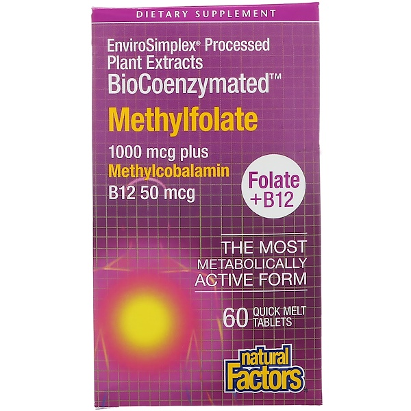Natural Factors, BioCoenzymated, Folate B12, Methylfolate, 1,000 mcg, 60 Quick Melt Tablets