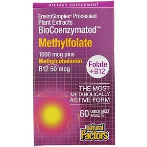 Купить Natural Factors, BioCoenzymated, фолат и B12, метилфолат, 1000 мкг, 60 быстро рассасывающихся таблеток  на IHerb