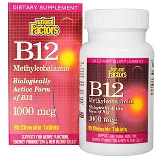 Natural Factors, B12, Methylcobalamin, 1000 mcg, 90 Chewable Tablets