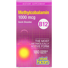 Natural Factors, B12,甲鈷胺,1,000 微克,180 粒咀嚼片