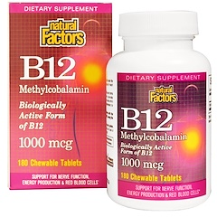 Natural Factors, B12, Methylcobalamin, 1000 mcg, 180 Chewable Tablets