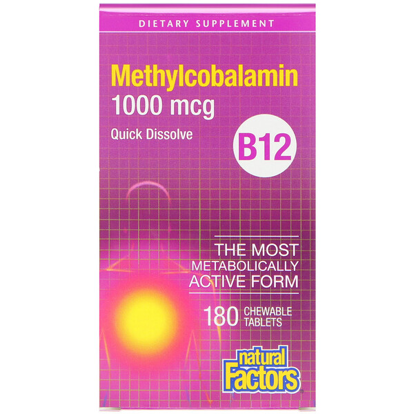 B12, Methylcobalamin, 1,000 mcg, 180 Chewable Tablets