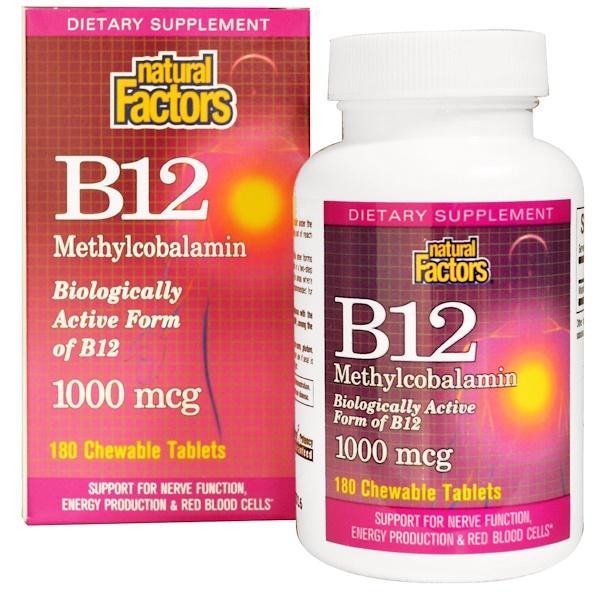 Natural Factors, B12 甲鈷胺,1000微克,180片咀嚼片