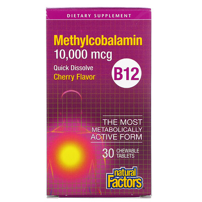 Купить Natural Factors B12 Methylcobalamin, Cherry, 10, 000 mcg, 30 Chewable Tablets