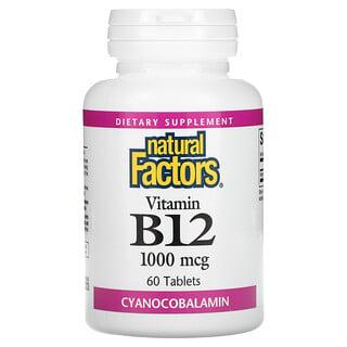 Natural Factors, Vitamin B12, 1,000 mcg, 60 Tablets