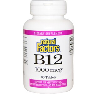 Натурал Факторс, B12, 1000 mcg, 60 Tablets отзывы