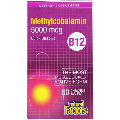 Natural Factors B12, метилкобаламин, 5000 мкг, 60 жевательных таблеток