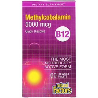Natural Factors, B12, Metilcobalamina, 5000 mcg, 60 Cápsulas Masticables