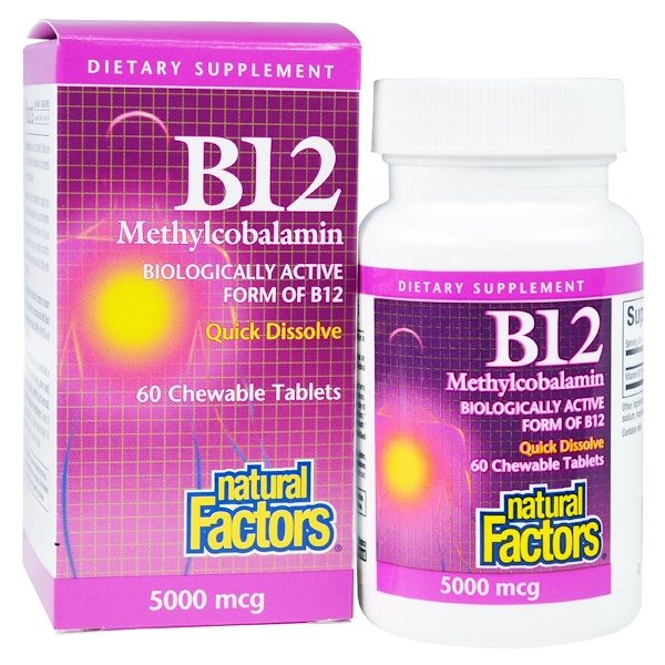 Natural Factors, B12, Methylcobalamin, 5000 mcg, 60 Chewable Tablets