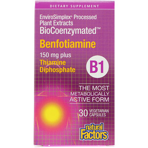 Натурал Факторс, BioCoenzymated, B1, Benfotiamine, 150 mg, 30 Vegetarian Capsules отзывы