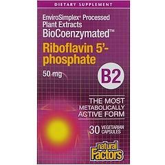 Natural Factors, Bio coenzymatique, B2, riboflavine 5'-phosphate , 50 mg, 30 capsules végétales