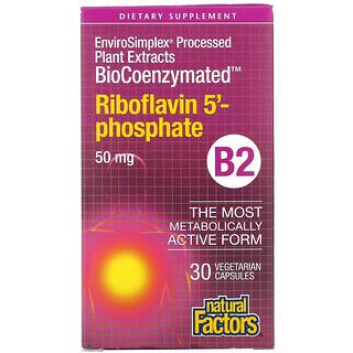 Natural Factors, BioCoenzymated, B2, Riboflavin 5'-Phosphate , 50 mg, 30 Vegetarian Capsules