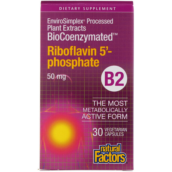 Natural Factors, BioCoenzymated, B2, Riboflavin 5'-Phosphate , 50 mg, 30 Vegetarian Capsules