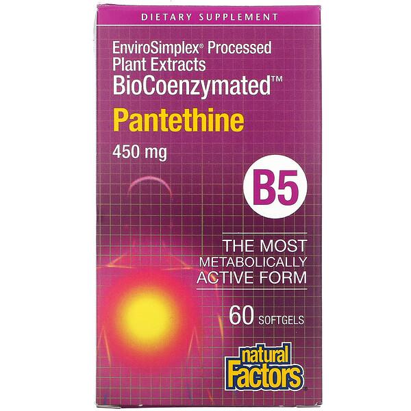 Natural Factors, BioCoenzymated, B5, Pantethine, 450 mg, 60 Softgels