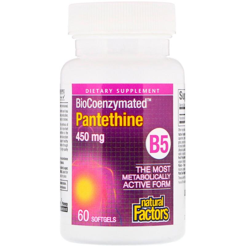 Natural Factors, BioCoenzymated, B5, Pantethine, 450 mg, 60 Softgels - photo 2