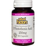 Отзывы о Natural Factors, D-пантотеновая кислота, 250 мг, 90 капсул
