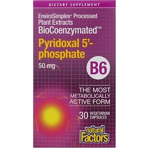 Купить Natural Factors, BioCoenzymated, B6, пиридоксал-5-фосфат, 50 мг, 30 вегетарианских капсул  на IHerb