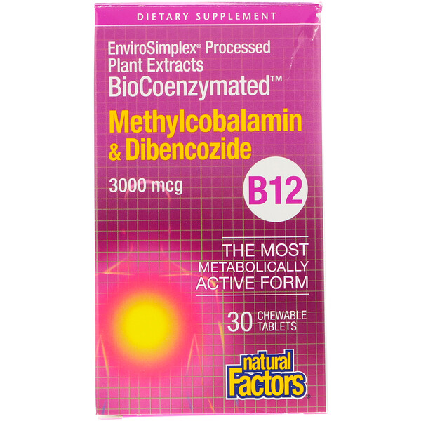 BioCoenzymated, B12, Methylcobalamin & Dibencozide, 3,000 mcg, 30 Chewable Tablets