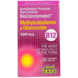 Натурал Факторс, BioCoenzymated, B12, Methylcobalamin & Dibencozide, 3,000 mcg, 30 Chewable Tablets отзывы покупателей