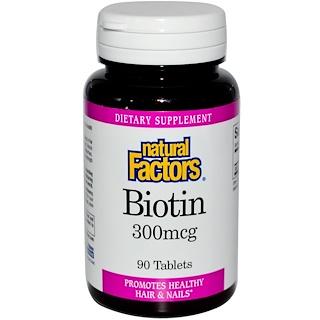 Natural Factors, Biotin, 300 mcg, 90 Tablets