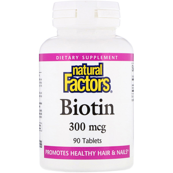 Natural Factors, بيوتين، 300 ميكروغرام، 90 حبة (Discontinued Item)