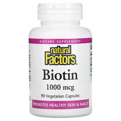 Natural Factors, 生物維生素,1000 微克,90 粒素食膠囊