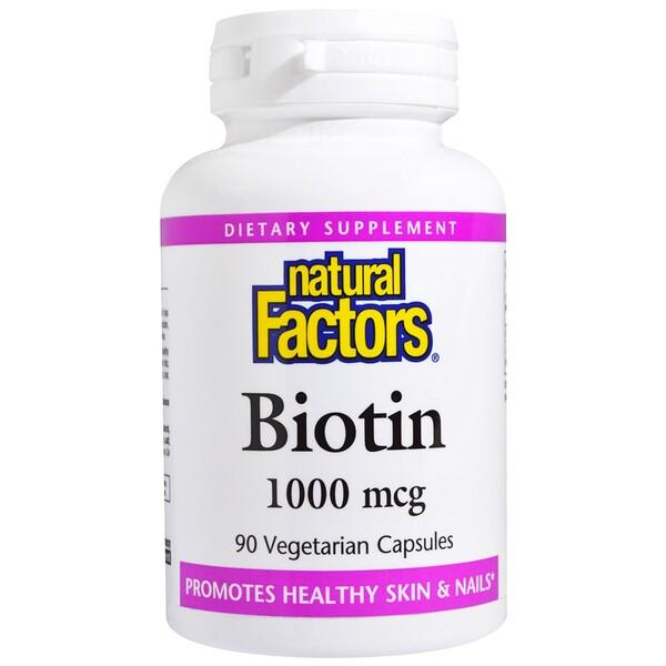 Natural Factors, Biotin, 1000 mcg, 90 Veggie Caps (Discontinued Item)