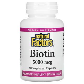 Natural Factors, Biotin, 5,000 mcg, 60 Vegetarian Capsules