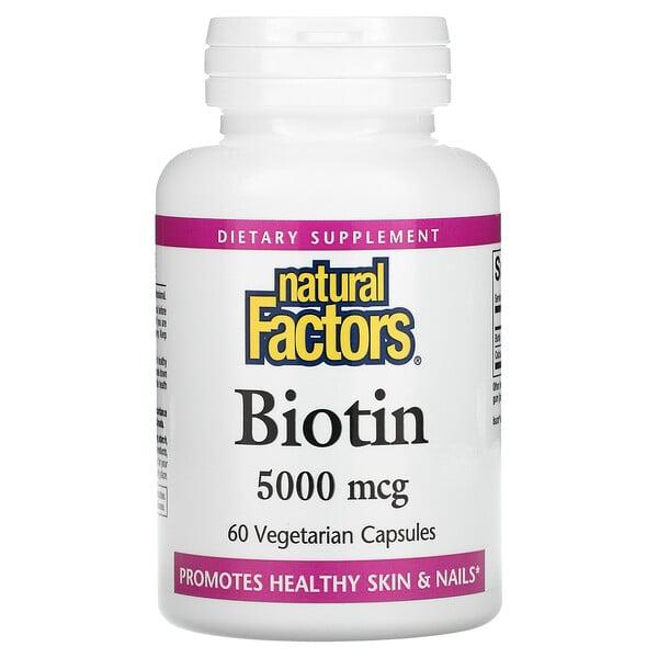 Natural Factors, 生物維生素,5,000 微克,60 粒素食膠囊