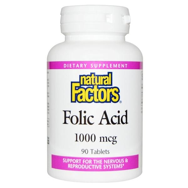 Natural Factors, Ácido fólico, 1.000 mcg, 90 tabletes