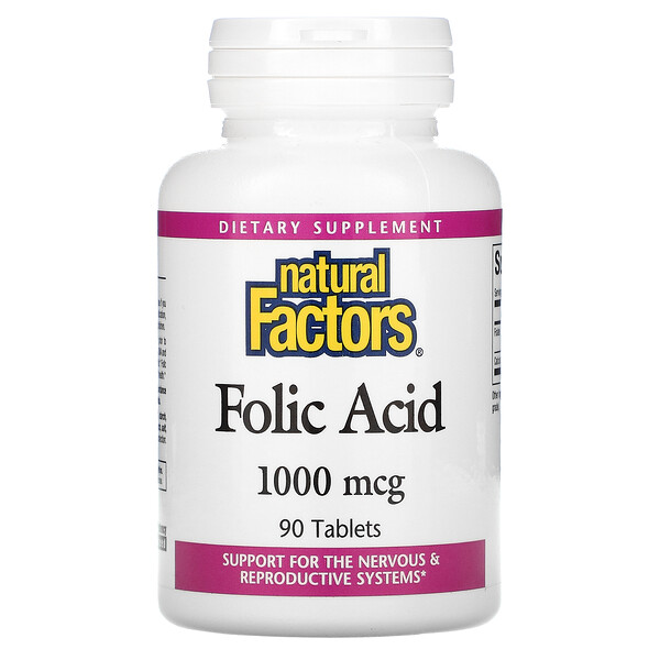 Folic Acid, 1,000 mcg, 90 Tablets
