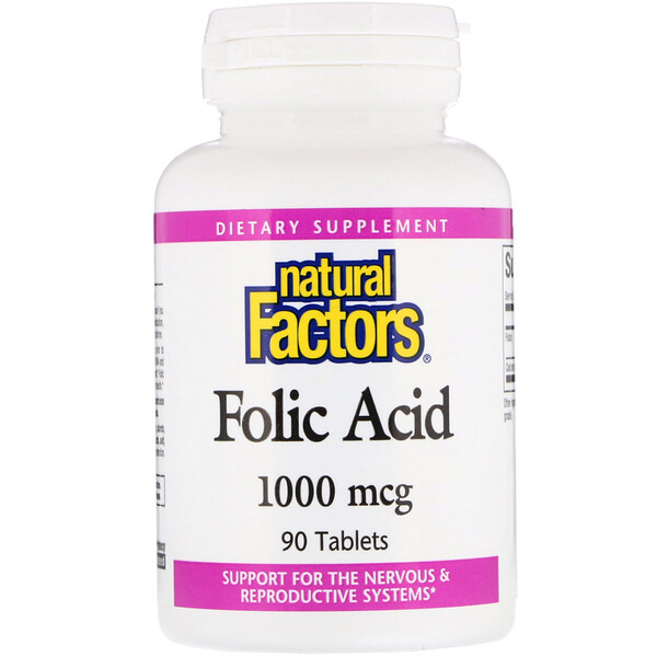 Natural Factors, Ácido fólico, 1.000 mcg, 90 tabletes