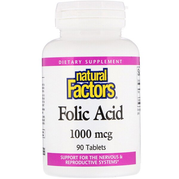 Natural Factors, Acide folique, 1 000 µg, 90 Comprimés
