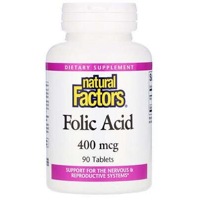 Купить Natural Factors Фолиевая кислота, 400 мкг, 90 таблеток