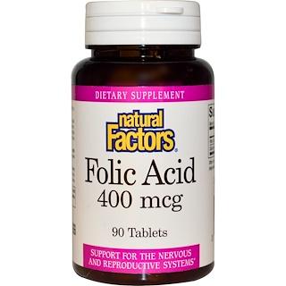 Natural Factors, Ácido Fólico, 400 mcg, 90 Tabletas