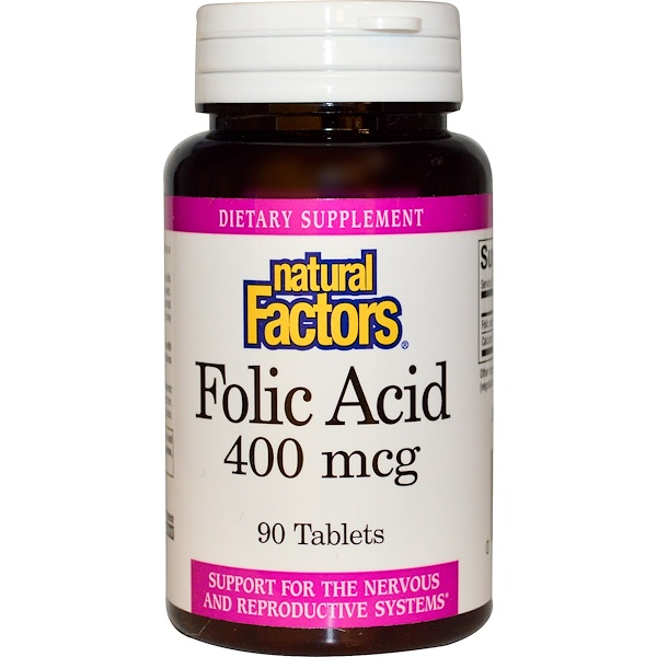 Natural Factors, Ácido Fólico, 400 mcg, 90 Tabletas