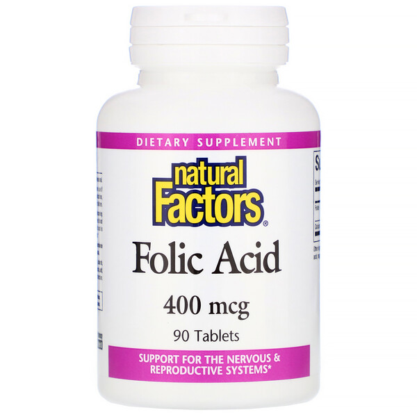 Natural Factors, Folic Acid, 400 mcg, 90 Tablets