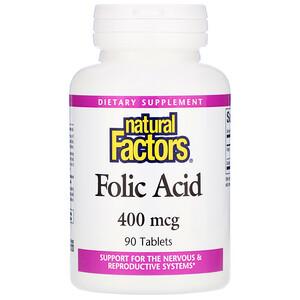 Натурал Факторс, Folic Acid, 400 mcg, 90 Tablets отзывы