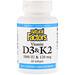 Витамин D3 и K2, 60 гелевых капсул - изображение