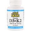 Natural Factors, Vitamin D3 & K2, 60 Softgels