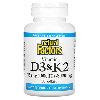 Natural Factors, 비타민D3 & K2, 소프트젤 60정