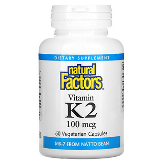 Natural Factors, 비타민K2, 100mcg, 베지 캡슐 60정