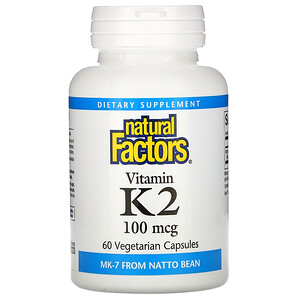 Natural Factors, Vitamin K2, 100 mcg, 60 Vegetarian Capsules