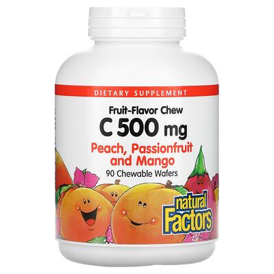Купить Natural Factors Fruit-Flavor Chew, Vitamin C, Peach, Passionfruit and Mango, 500 mg, 90 Chewable Wafers