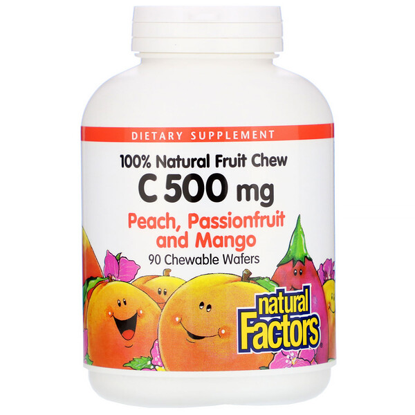 Natural Factors, 100% Natural Fruit Chew Vitamin C, Peach, Passionfruit and Mango, 500 mg, 90 Chewable Wafers (Discontinued Item)
