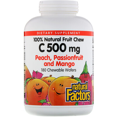 Купить Natural Factors 100% Natural Fruit Chew Vitamin C, Peach, Passionfruit and Mango, 500 mg, 180 Chewable Wafers