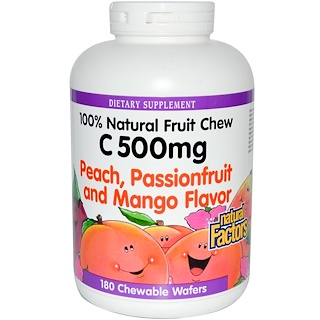 Natural Factors, C 500 mg, Peach, Passionfruit and Mango Flavor, 180 Chewable Wafers