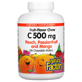 Natural Factors, Fruit Flavor Chew Vitamin C, Peach, Passionfruit and Mango, 500 mg, 180 Chewable Wafers